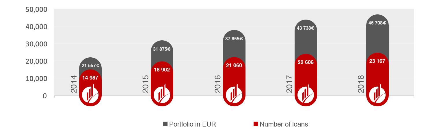 Portfolio i broj kredita u proteklih pet godina